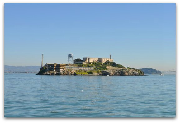 The western side of Alcatraz Island from the water