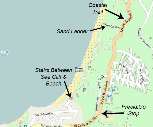 Map of baker beach showing parking, presidigo stop and coastal trail.