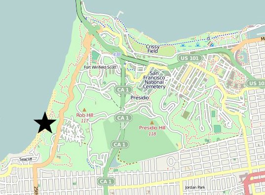 A map showing where Baker Beach is within the Presidio