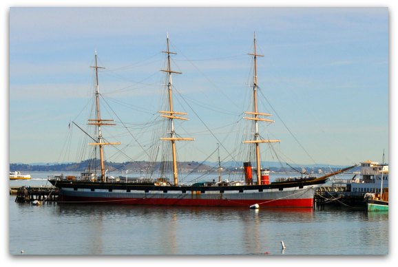 The historic Balclutha ship on the Hyde Street Pier in San Francisco.