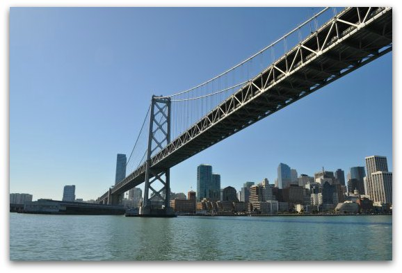 Under the Bay Bridge looking toward San Francisco