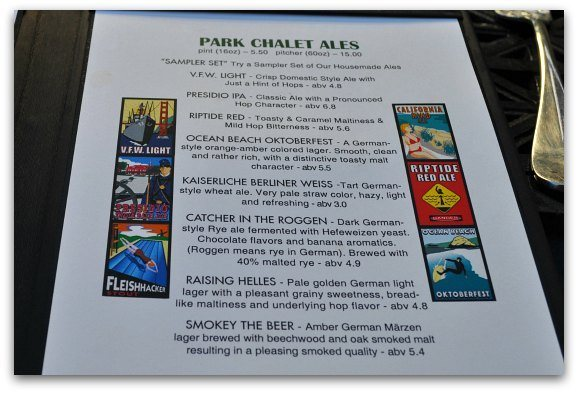 The list of beers on the menu at the Beach Chalet Brewery in San Francisco.