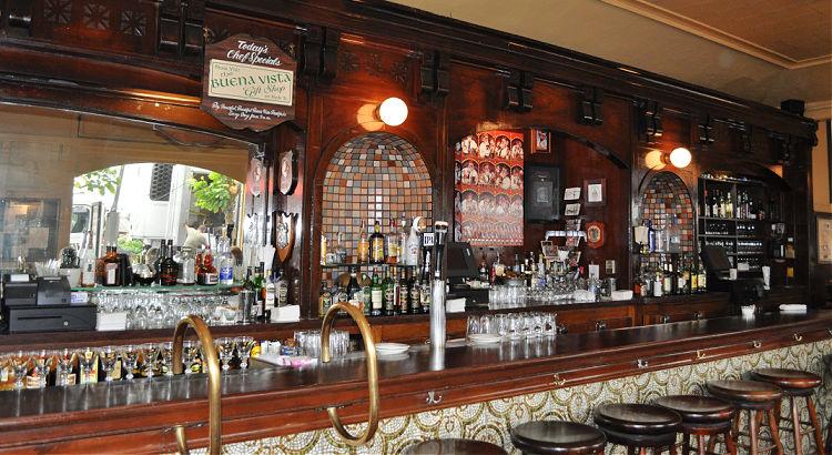 The bar area inside the Buena Vista Cafe in San Francisco