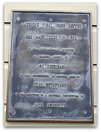 The sign outside the Buena Vista in San Francisco showcasing the history of this famous cafe.