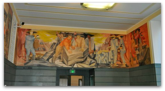 Rincon Center mural showing the building of San Francisco
