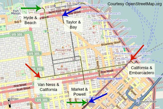 Map of the starting and ending points of the San Francisco cable cars