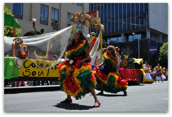 Colorful dancers in the annual Carnaval Parade in San Francisco