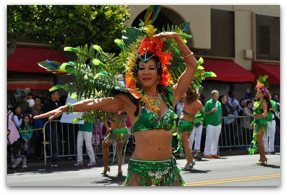 A colorful performer at the Carnaval Parade in SF.
