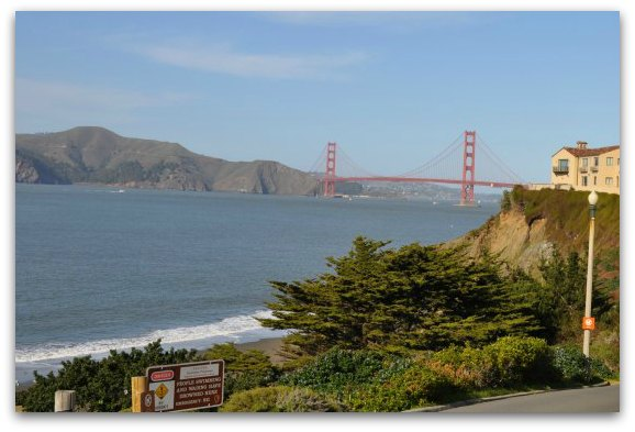 A view of the Golden Gate Bridge from China Beach in SF.