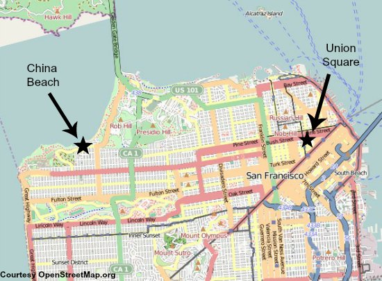 Map showing China Beach's location in San Francisco