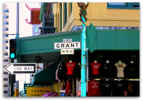 Grant Avenue sign and a few shops in SF's Chinatown