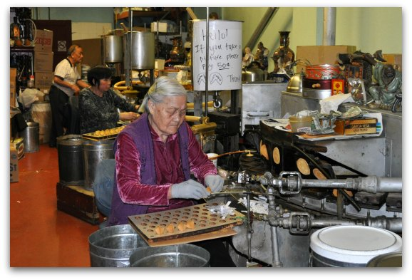 Inside the Golden Gate Fortune Cookie Factory in San Francisco.