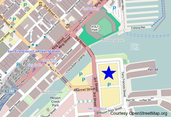Map showing the location of the Cirque du Soleil performances in San Francisco.