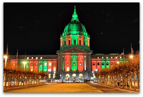 San Francisco City Hall all decked out in Christmas colors.