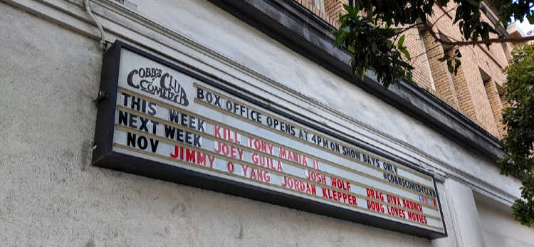 Cobb's Main Sign with Upcoming Shows