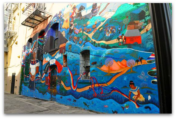 A colorful mural in SF's North Beach district
