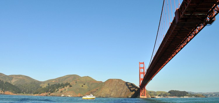 The underside of the Golden Gate Bridge on the Golden Gate Cruise in SF