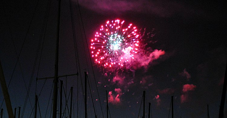 Fireworks along the Embarcadero for Fourth of July