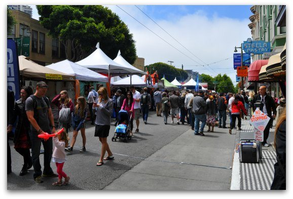 The art displays at the North Beach Street Festival.