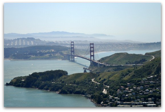 A view from above on a plane over the Golden Gate Bridge