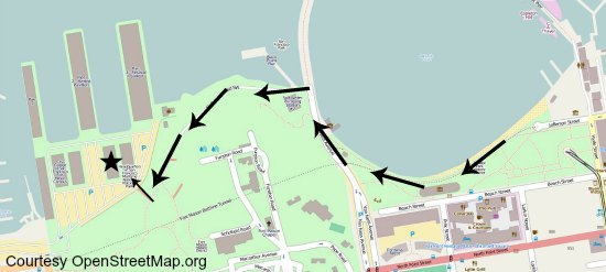 A map showing the walking path from Fishermans Wharf to Fort Mason