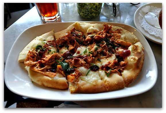 The Garlic BBQ Chicken Pizza at the Stinking Rose in North Beach San Francisco