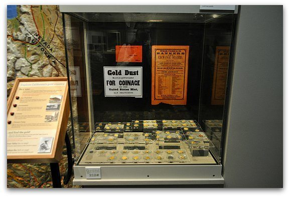 Gold coins in a museum in SF.