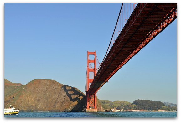 From the water, looking back at the northern towers of the Golden Gate Bridge in San Francisco