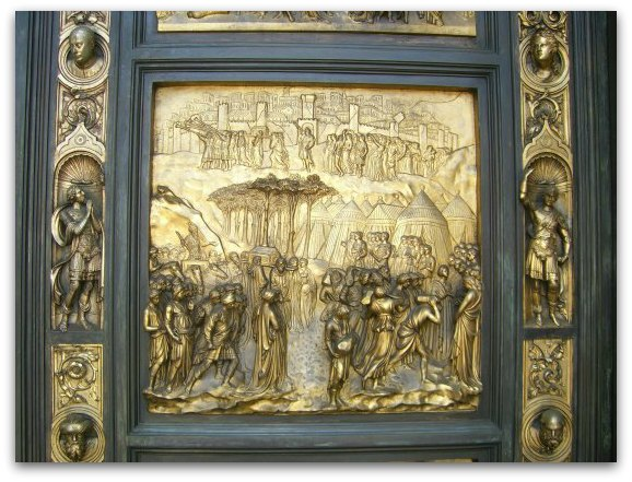 A panel on the Gates of Paradise at Grace Cathedral