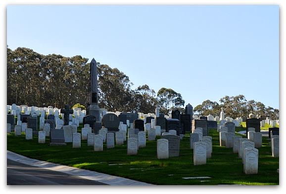 Gravestones in the National Cemetery in SF