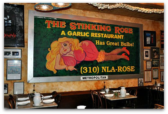 The billboard in the Stinking Rose in San Francisco.