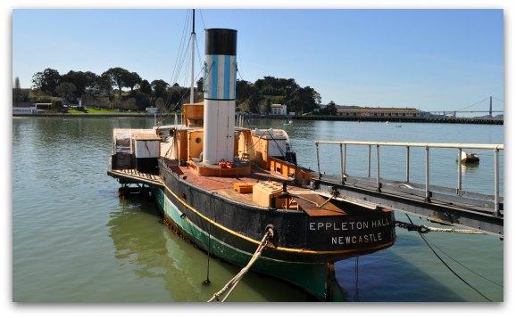 Eppleton Hall Ship on the Hyde Street Pier in Fishermans Wharf San Francisco.