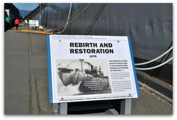The info signs about the two war ships at Pier 45 in SF.