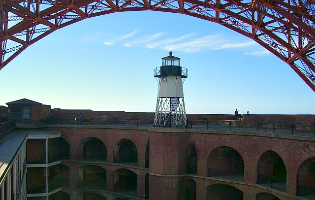 Looking down on the interior of Fort Point from the roof.