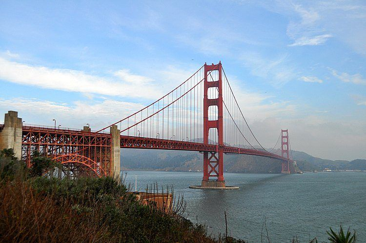 Golden Gate Bridge with a little fog in January