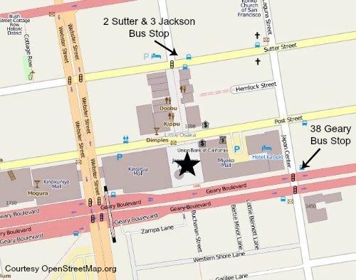 Transit map to Japantown San Francisco