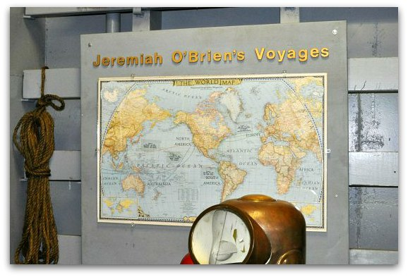 A map showing all of the voyages in WWII made by the SS Jeremiah O'Brien