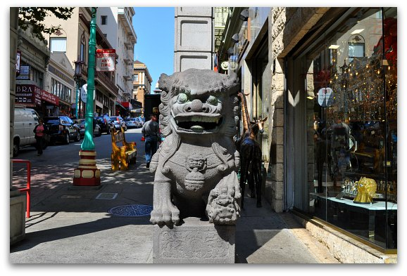One of the lions at the gate in SF's Chinatown