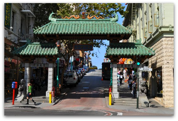 The main entrance gate to Chinatown at Grant and Bush Streets in SF