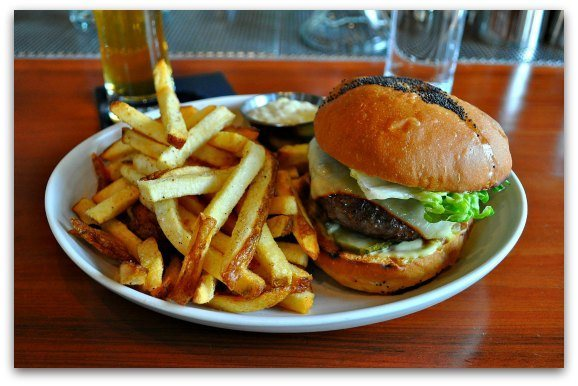 The burger and fries at Maven in the Lower Haight.