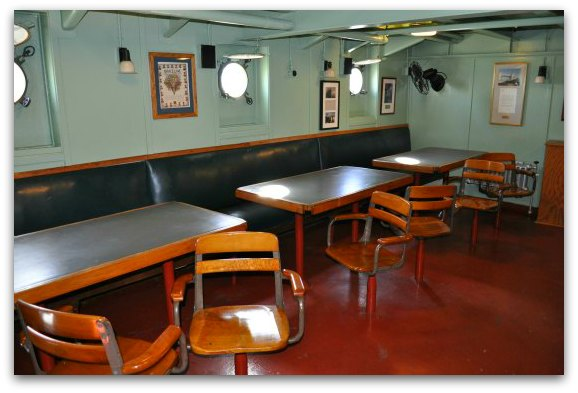 The mess hall in the SS Jeremiah O'Brien.