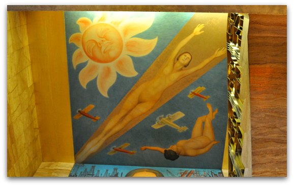 The ceiling portion of the Allegory of California Mural