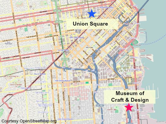 Map showing the location of Union Square and the Museum