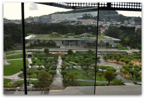 The California Academy of Sciences from the observation tower in the de Young Museum