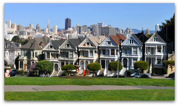 An afternoon look at the Painted Ladies of Alamo Square.