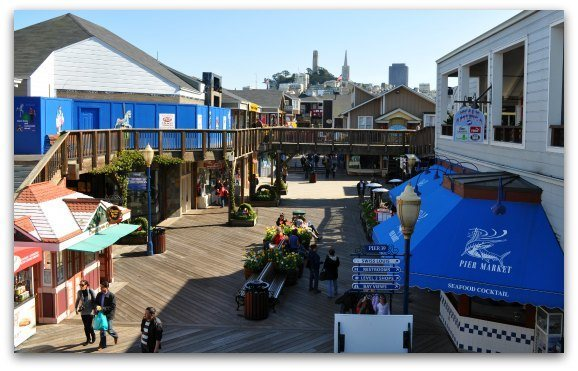 The shopping venues along SF's Pier 39 in Fisherman's Wharf.