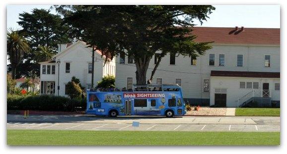 A hop on hop off bus in San Francisco's Presidio
