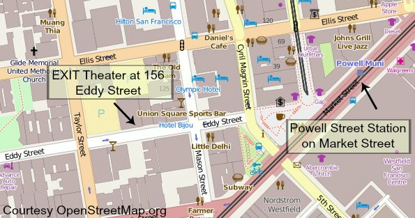 Map showing the Exit Theater from the Powell Street BART Station.