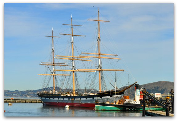 The Balclutha and Eppleton Hall boats at the Hyde Street Pier in San Francisco.