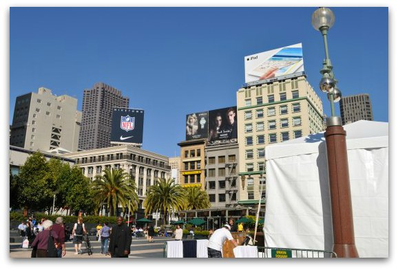 Shops along Union Square in San Francisco